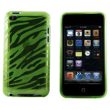 Apple iPod Touch 4 Green & Clear Zebra Animal Print TPU Smooth Case Cover Skin