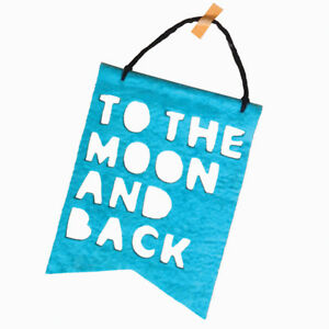 NEW Homely Creatures To The Moon & Back Banner - Teal Children Baby
