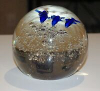 Vintage Art Glass Clear Glass Round Paperweight with Bubbles and 3 Blue Dolphin