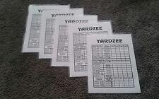 Double Sided Yardzee Farkle  Laminated Scorecards Set of 5 for Yard Dice Games