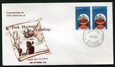 Australia 1966 Dirk Hartog pair - Unaddressed Fdc (brown printing)