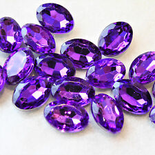 20 Purple Faceted Cabochons, Acrylic Faceted Purple Oval Cabochons, 14mm x 12mm