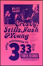 1971 Tower Records Sunset Poster Atlantic Crosby Stills Nash & Young CSNY