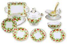 11 pc Christmas Mistletoe Dinner Set Dollhouse Miniature by Reutter Porcelain