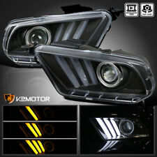 2010-2014 Ford Mustang Sequential LED Bar Projector Headlights Black