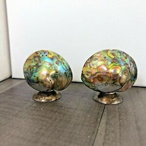 Authentic Vintage Abalone Mother Of Pearl Shell Salt And Pepper Shaker Set Cruet