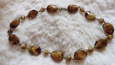 "Striped Art Glass Bead 16"" Necklace Vintage Goldtone Czech Brown Cream Givre"