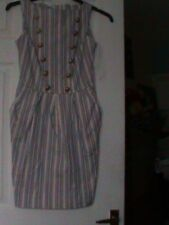 Girl/ladies' striped beige and blue dress size 8