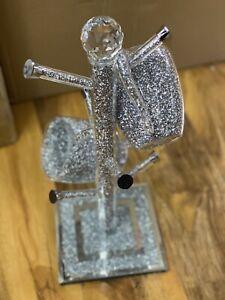 Mug holder stand With Crushed Diamond Crystal silver