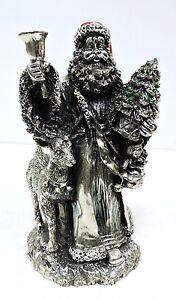Scultura Statua Babbo Natale con campanella h cm 21 laminato argento