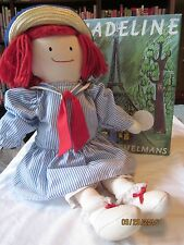 "Madeline Dressable Plush 18"" Doll by Eden blue striped dress ,straw hat & Book"