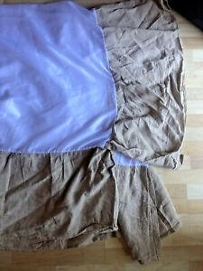 """Nina Campbell Home Queen LINEN & COTTON 15"""" Drop Bedskirt Bed Skirt TAUPE"""
