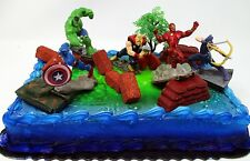 Avengers 15 Piece Birthday Cake Topper Set Featuring Captain America, Iron Man,
