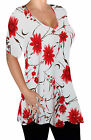 Amber Ladies V Neck Multi Print Blouse Tunic Womens Swing Flared T-Shirt Top