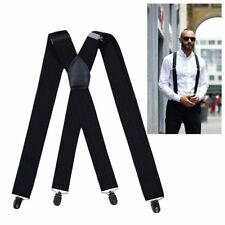 "Adjustable Braces Black Heavy Duty Biker Elastic Suspender Brace at Work 2"" 50mm"
