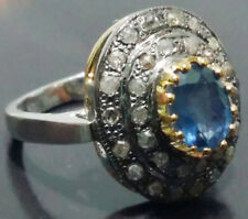 1.20ct ROSE CUT DIAMOND SAPPHIRE TURQUOISE VICTORIAN LOOK SILVER COCKTAIL RING