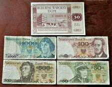 POLAND. COLD WAR ERA SET OF 5 VINTAGE BANKNOTES 50,100,500 AND 1000 ZLOTYCH /2