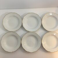 Hutschenreuther Germany White Bowl Lot 6 Scalloped Edge Gold China Dinnerware