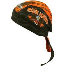 Ride Hard Ride Fast Biker Bandana Headwrap Headscarf Adjustable Cap Hat Orange