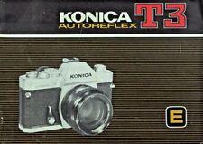 KONICA T3 AUTOREFLEX SLR 35mm CAMERA OWNERS INSTRUCTION MANUAL -KONICA T3