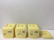 Vintage Clarolyte Plastic Storage Boxes Pins Lotion Swabs Baby Nursery Vanity