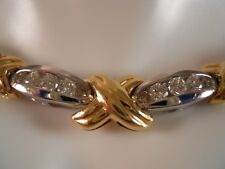HEAVY 18.12G 14K YELLOW GOLD 2CTW CHAMPAGNE DIAMOND XO PENDANT NECKLACE 18 1/2
