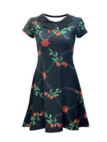 Women's Floral Rose Barbed Wire Swing Rockabilly Collar Dress Alternative Goth