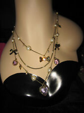 BETSEY JOHNSON PINK ICONIC 3 LAYER NECKLACE WITH HEART AND BOWS AND FAUX PEARLS