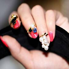 Black Cat Simulated-Pearl Zircon Nail Rings Set Resizable Knuckle Ring 4pcs/set