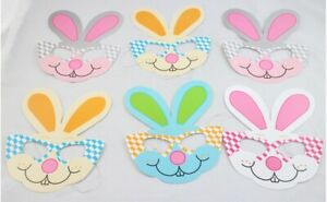 Easter Bunny Peter Rabbit Party Face Masks 6pk assorted colours