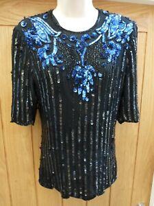 Frank Usher embellished silk top,fully lined, size S