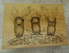 House Mouse 391 Peace On Earth Rubber Stamp (Muzzy, Monica, Maxwell) Christmas