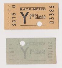 """2 tickets de métro """"Y"""" 1ère et 2ème classes (années 60)"""