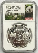 2016 China Official Panda Issue ANA Release NGC PF70 Ultra Cameo - 31.1g Silver