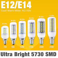 e12 e14 7/9/12/15/20/25w led bulb lamp cool/warm white ac 110/220v saving lights