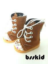 "BJD Yo-SD 1/6 Dollfie 13"" Effner 12"" Kish Doll Shoes BROWN Floral Boot"