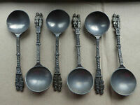 Set of 6 vintage 7 inch pewter spoons, food/dessert/soup, inca tribe??