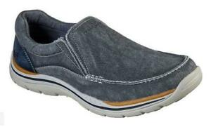 SKECHERS Men's Memory Foam Relaxed Fit Slip On Shoes, Med and Extra Wide 3E