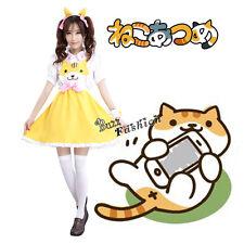 Anime Clothing Cosplay Costumes Yellow Cat Pattern Maid Dress Neko Atsume