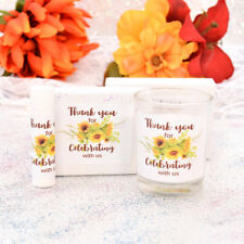 30 Sunflower Thank You Stickers, Rectangle Party Favor Labels