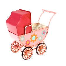 Blechmodell Babywagen Rosa mit Blumen Nostalgie Modell Größe ca. 18,5x12,5x17,5