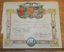 1863 Print/NEW YORK CITY, CERTIFICATION OF A CITY OF NEW YORK FIREMAN, 1787