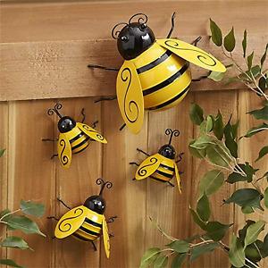 Metal Wall Art Bee Decor World Bee Day Figurine Spring Indoor Outdoor 3D