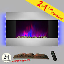 "36"" Logs Pebbles 2-in-1 Wall Mount 2 Setting Electric Fireplace Heater w/ Remote"