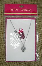 Betsey Johnson Play Dress Up Crystal Pave' Skull Pendant Silver Tone Necklace