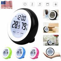 Black Digital Alarm Clock Thermometer Hygrometer W/Time Touchscreen Backlight US