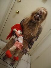 "ZOMBIE GIRL WITH DOLL 50"" STANDING HALLOWEEN PROP. New. Ultra Scary."