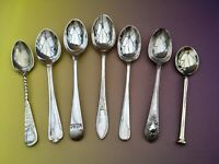 ANTIQUE SPOONS x7 - HF WARING BARKER JS S&B EPNS SILVER PLATE CUTLERY