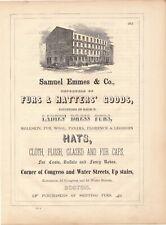 Original 1853 Full page Illustrated Ad for Samuel Emmes & Co. Furs & Hatters