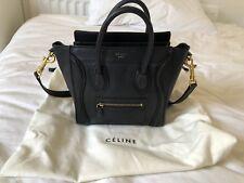 Celine Nano Luggage Handbag In Smooth Calfskin Black With Gold Metal Hardware